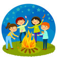 kids having bonfire vector image
