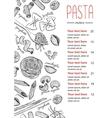 hand drawn pasta menu Vintage line art vector image
