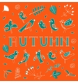 Autumn card with birds leaves and flowers vector image