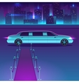Limousine with a red carpet at night in vector image