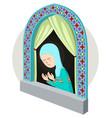 arabic girl praying inthe window vector image