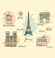 paris sketches collection vector image