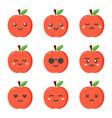 set collection of flat design emoji red apples vector image vector image