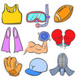 doodle of sport various object vector image