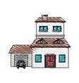 color crayon stripe cartoon facade two house vector image