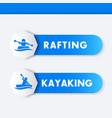 kayaking rafting icons banners vector image