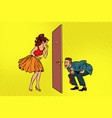 man and woman looking through a door peephole and