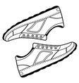Pair unisex black outlined sneakers shoes vector image vector image