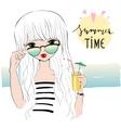 Beautiful romantic girl on the beach vector image