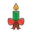christmas candle red bow burning celebration vector image