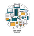 colorful poster of data center service with tech vector image