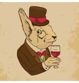 Dressed Squirrel With Glass of Wine And Top Hat vector image