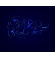 girl hair line silhouette glow vector image