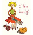 I love knitting card with funny woman vector image