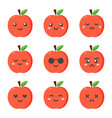 set collection of flat design emoji red apples vector image