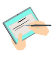 write tablet icon isometric 3d style vector image
