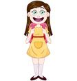 Girl Standing With School Bag vector image vector image