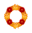Christmas wearing straw wreath with poinsettia vector image