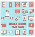 Mobile health icons set flat line vector image
