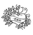 tattoo heart with ribbonflowers and lettering mom vector image