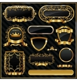 Decorative ornate gold frame label vector image