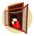 chinese girl praying in the window vector image