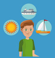 young boy tourist traveler vacation icons design vector image