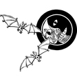 Two bats and Moon vector image