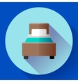 Hotel single room Bed icon flat style vector image