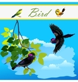 Bird on branch and bird flying in the sky vector image