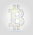 bitcoin sign icon wireframe mesh on gray vector image