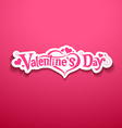 Happy Valentine Day lettering on pink background vector image