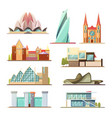 set of line commercial and residential buildings vector image
