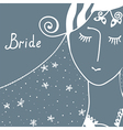 Wedding invitation with bride vector image