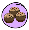 A Brown Muffin on Round Purple Background vector image vector image