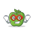 super hero green apple character cartoon vector image