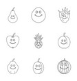 fruit emoji icon set outline style vector image