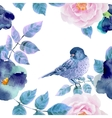 Watercolor seamless pattern with flowers and vector image