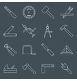 Carpentry tools icons outline vector image