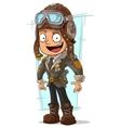 Cartoon cool pilot in retro helmet vector image