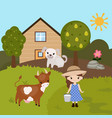 cartoon farm landscape cartoon farm landscape vector image