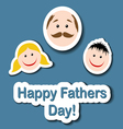 Fathers day card with cartoon sticker heads vector image