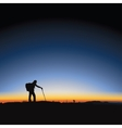 Hiking man and sunrise vector image