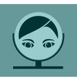 Portrait of elegant woman reflection in mirror vector image