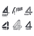 Set of black and white number four logo templates vector image