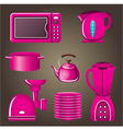 Set pink cookware and kitchen appliances vector image vector image
