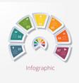 semicircle diagram with seven multicolored vector image