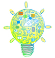 Light bulb with internet and social network icons vector image vector image