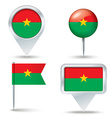Map pins with flag of Burkina Faso vector image