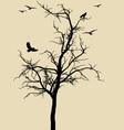 black tree with birds vector image